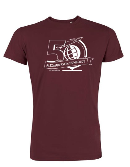 Rundhals T-Shirt Herren - 100% Biobaumwolle  (Gr. XS - XXL) burgundy